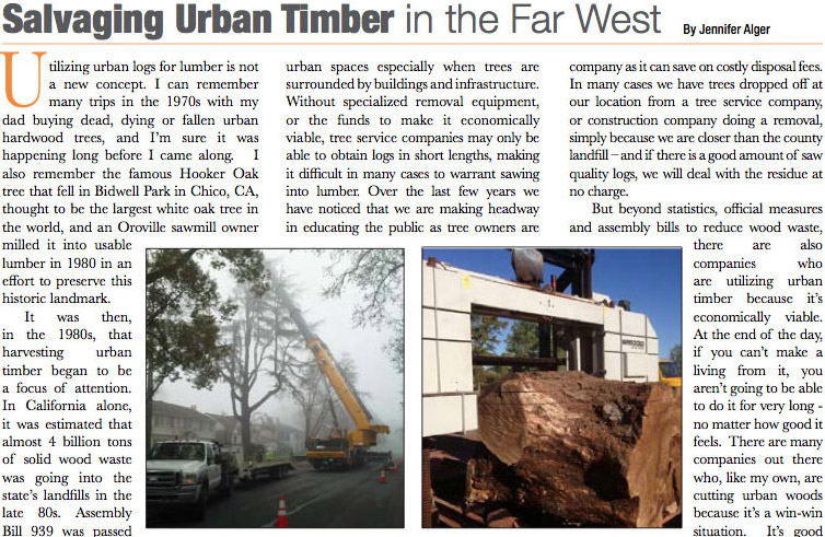 "a newspaper clipping titled ""Salvaging Urban Timber in the Far West"""