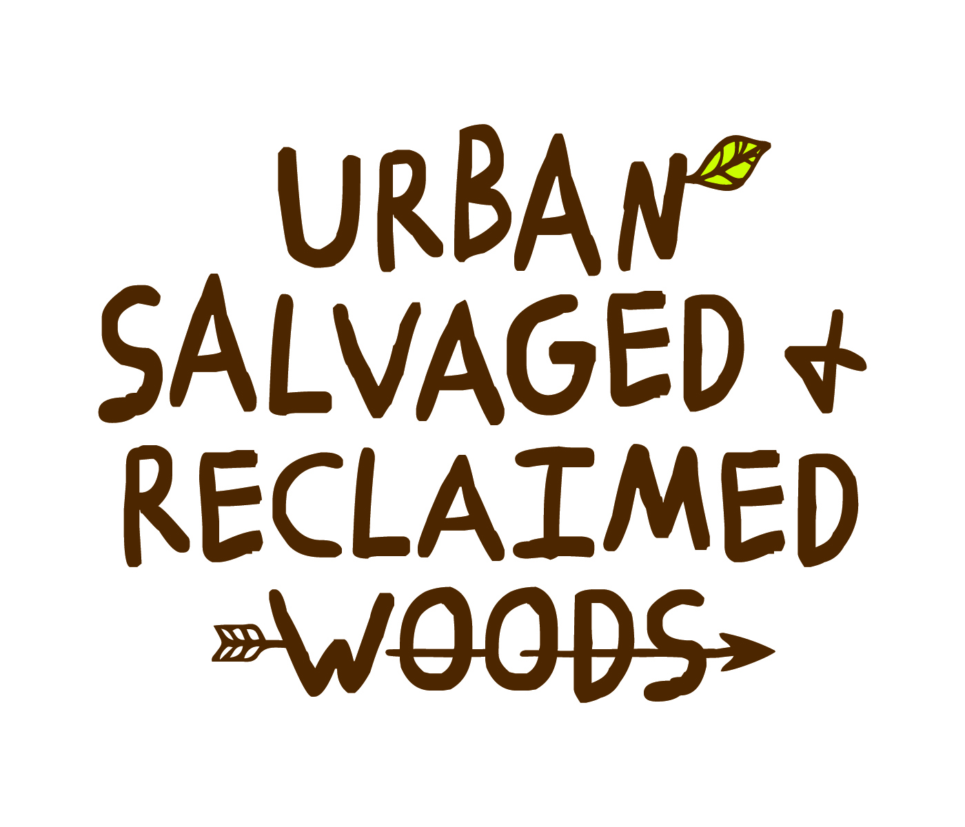 urban salvaged and reclaimed woods logo with leaf and arrow urban lumber